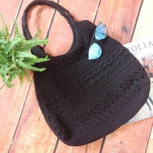Handbags - Cappelli Knit Crochet Boho Black Shoulder Bag